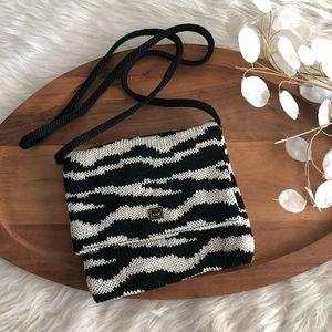 The Sak Purse Brown Beige Zebra Stripe Crochet